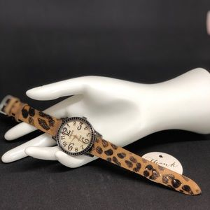 Chico's Animal Print Leather Band Watch